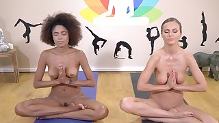Yoga therapy leads these babes to demented cock sharing porn