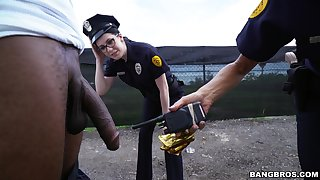 Horny police officers Lyla Lali plus Norah Gold fucked by a black dude
