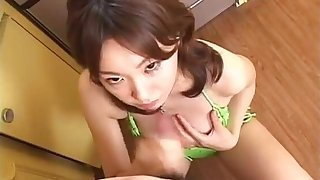 Rin Yon A Sexy Bikini On Her Knees For A Blowjob