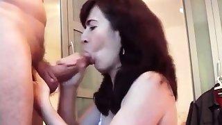 Nice milf swallows cum