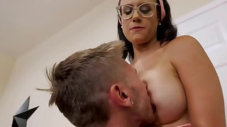 Nerdy MILF with big tits tries to make stepson stay by having intercourse