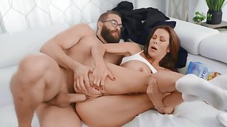 Vicious MILF with big boobs prefers fucking younger men
