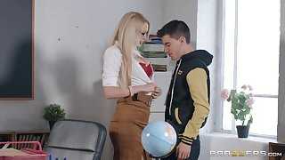 Sexy nerdy blonde tutor is fucked doggy for all apart from the brush aroused student