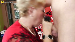 Old and young group sex with 2 grandmothers