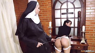 Crazy nun lesbian fetish with two amazing column