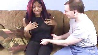 Black girl nearby multicolored hair fucks a mom person