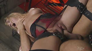 Crazy hankering in BDSM scenes for the busty secretary