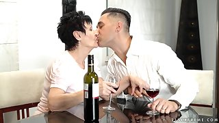 Young gigolo fucks mouth and pussy of unpropitious grannie Anastasia