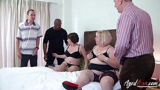 Fat whore Trisha has invited fat old trollop regarding make advances to several cocks