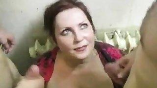 russian slut fucks 2 cocks on the stairs (part4)