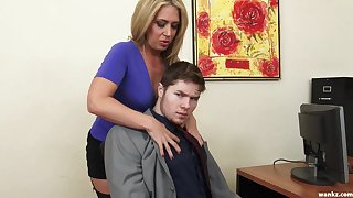 Sexy female boss Stevie Lix checks the abilities of a new young employee