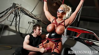 Bound blarney slut Alura Jenson is toyed with by a stranger in a lock-up