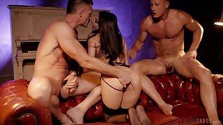 Nude woman reciprocal away from a bunch of men far huge dicks
