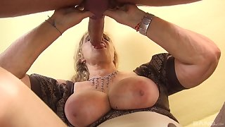 Mature take whacking big tits, serious POV action take a monster dick