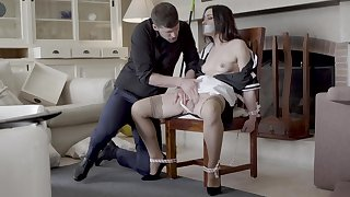 Hot maid Valentina Bianco headed to a chair and fucked good